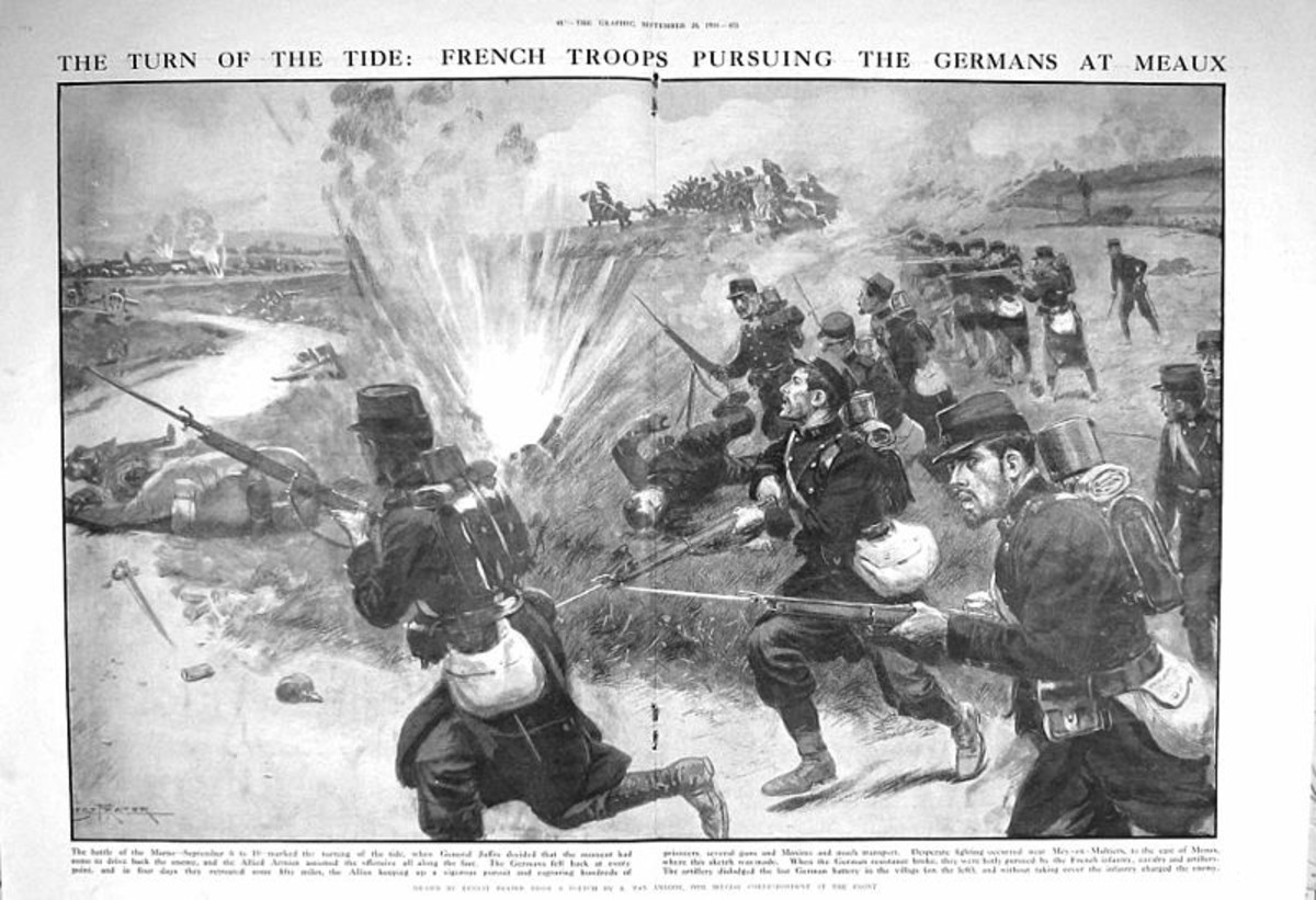 WWI: Turning the Tide at the First Battle of the Marne. French soldiers on the attack.