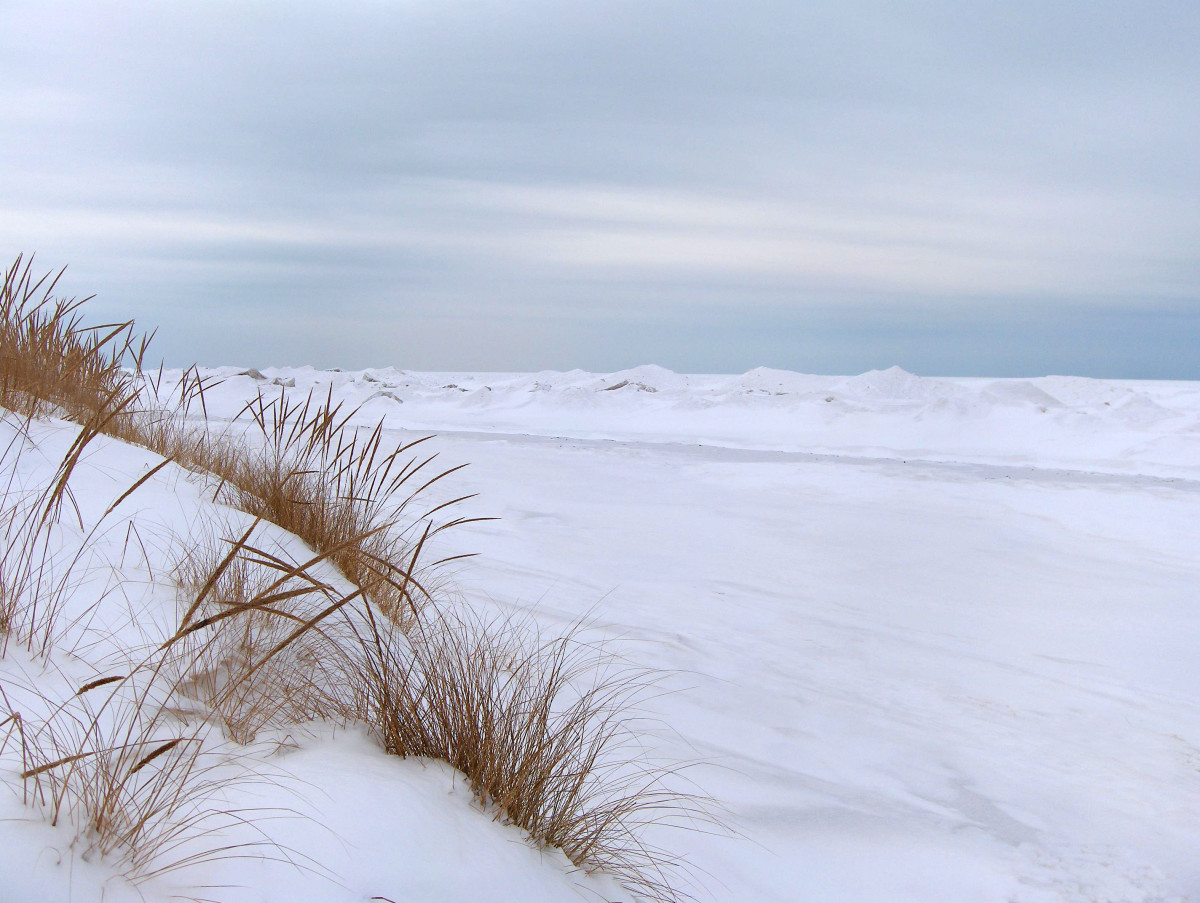2014 POLAR VORTEX effect on Lake Michigan's Pier Cove Beach one day after the storm