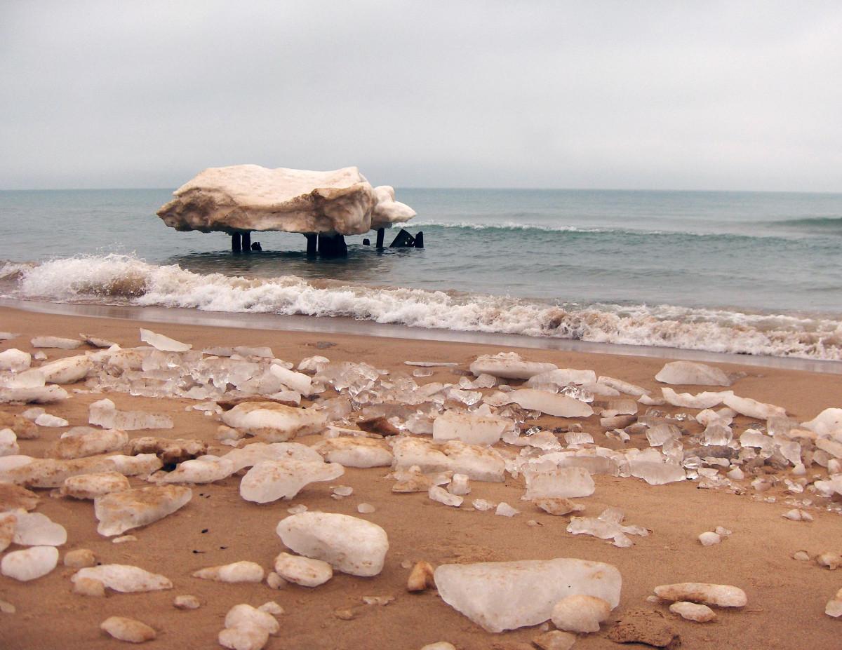 Shoreline melt down on Lake Michigan beach in St. Joe, Michigan