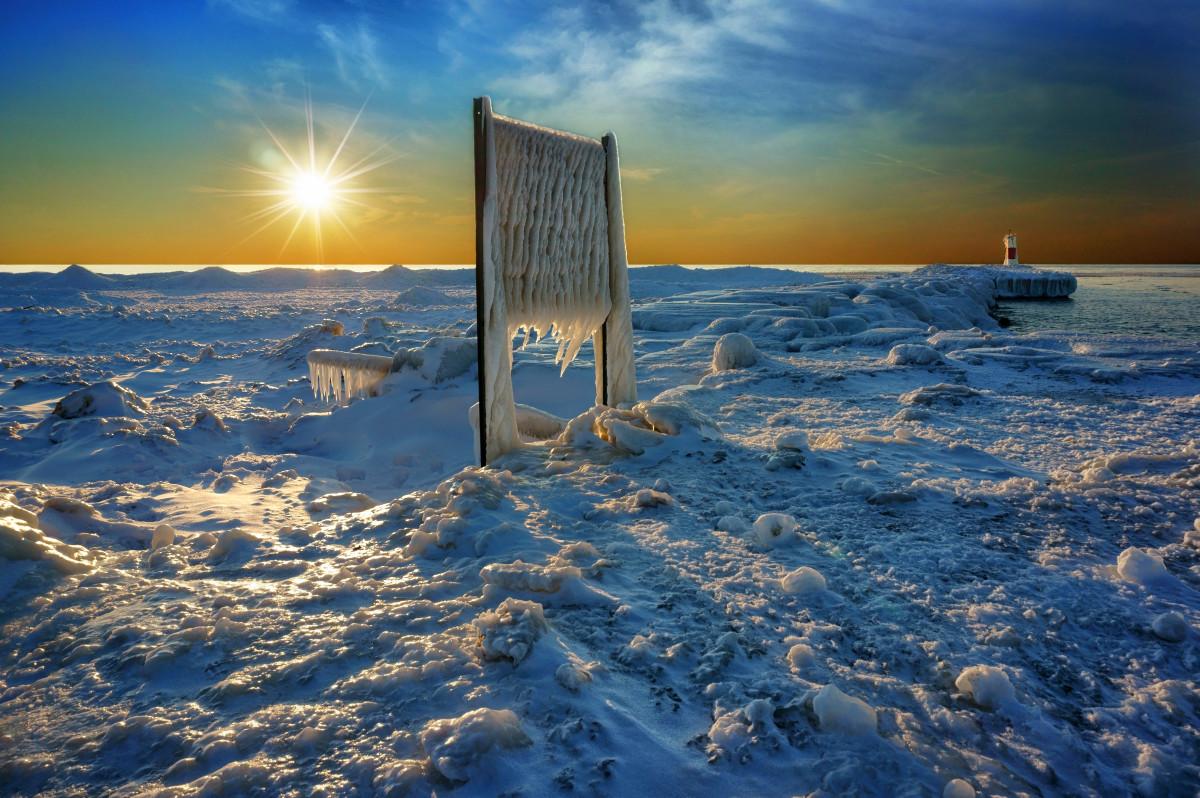 Ice chunks on frozen ice sheet, Kalamazoo Rivermouth, Saugatuck, Michigan