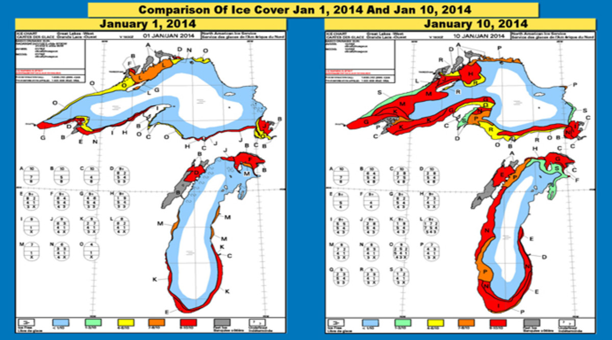 POLAR VORTEX ICE COVER OF 2014 on Lake Michigan and Lake Superior (Red showing deepest ice cover)