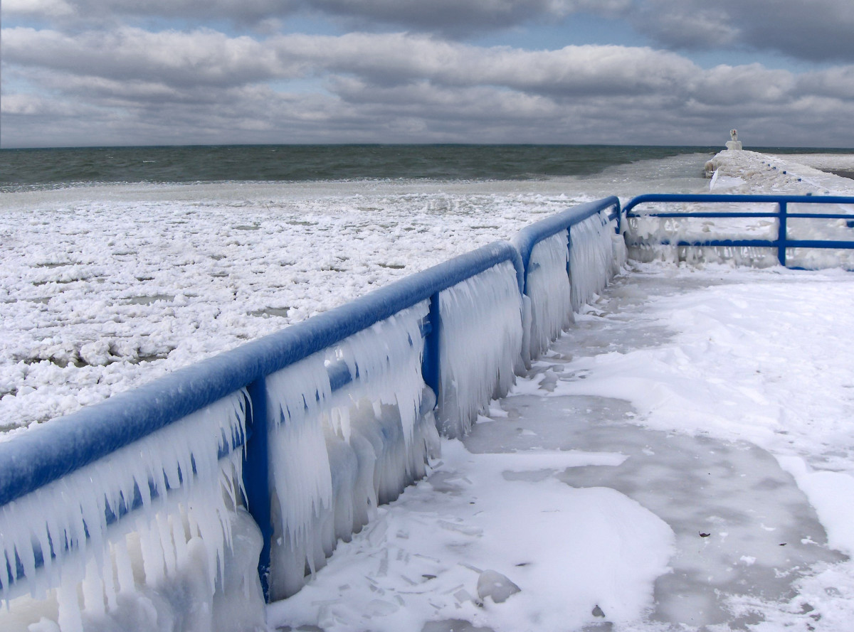 Ice chunks forming near shore at South Pier near St. Joe, Michigan's Silver Beach