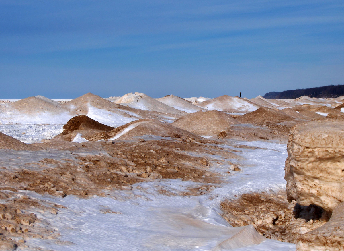 Lake Michigan Tiers of Ice Mounds one week after Polar Vortext event 2014