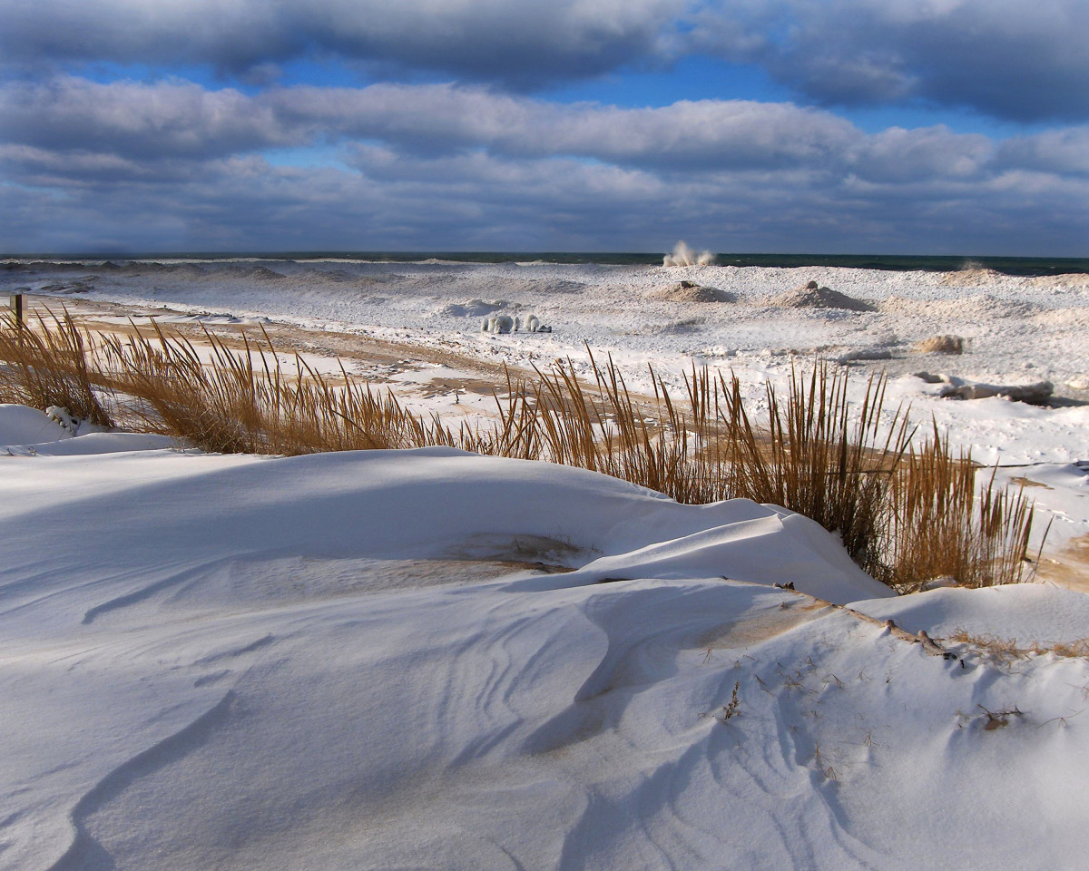 Few days BEFORE  the Polar Vortex event near Silver Beach on Lake Michigan in St. Joe, Michigan