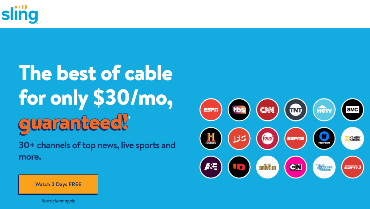Sling offers a 3-day free trial and often offers two free weeks, so you can try before you buy