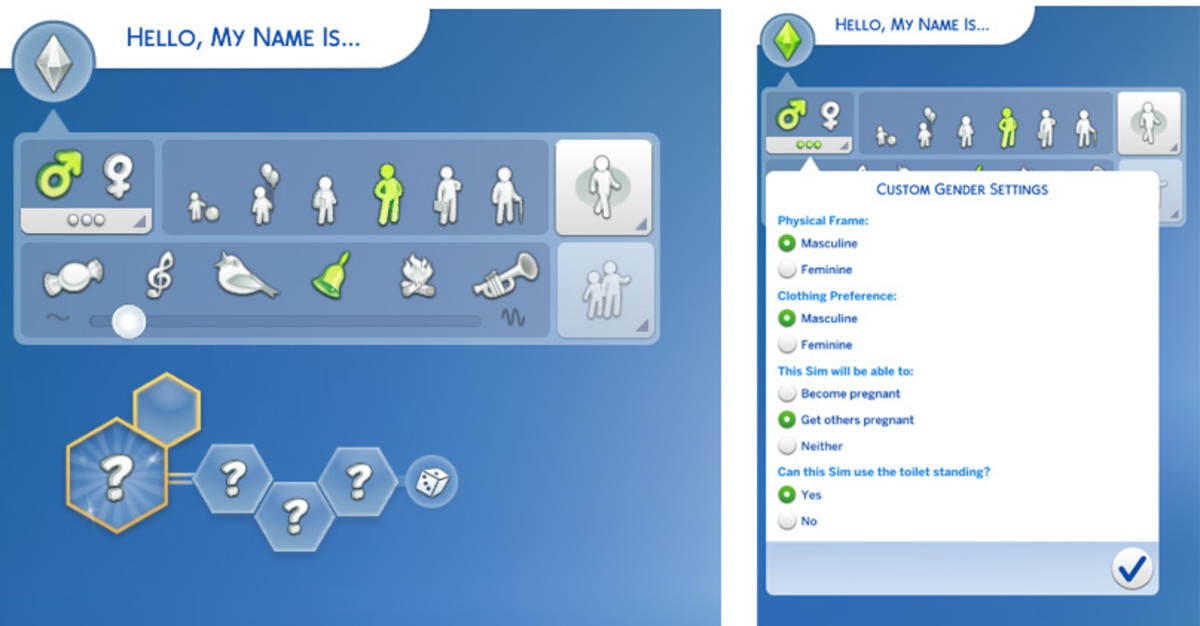 Choose features such as your Sim's gender, overall appearance, age, voice or walk style.
