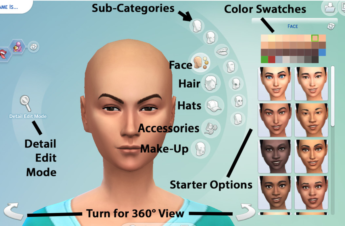 "A diagram of how to customize your Sim in ""The Sims 4."""