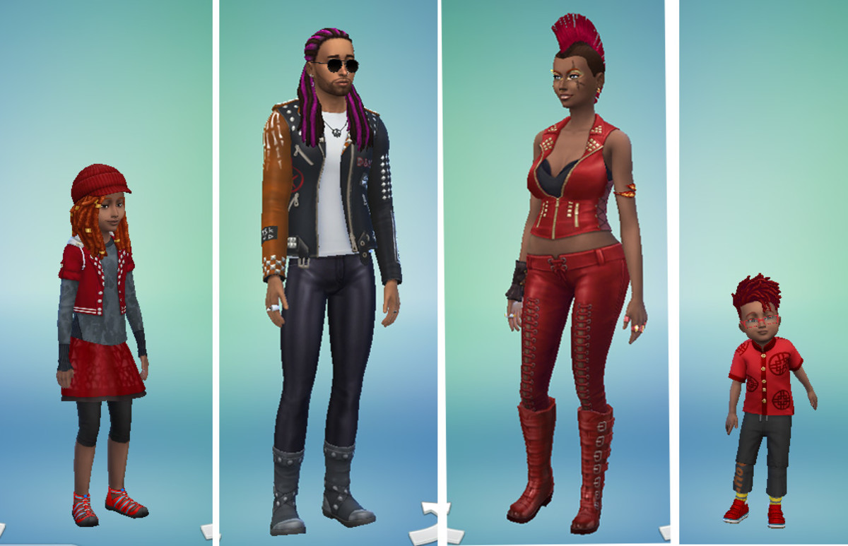 "This is the ""De La Cour"" household, which can be found in the Sims 4 user gallery. They are a quirky, creative and fun family—very edgy—and dream of fame."