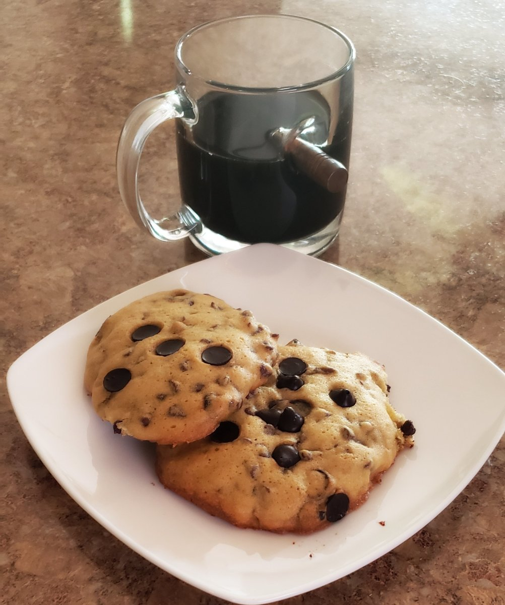 Enjoy these double chocolate espresso chip cookies with what else? Coffee!