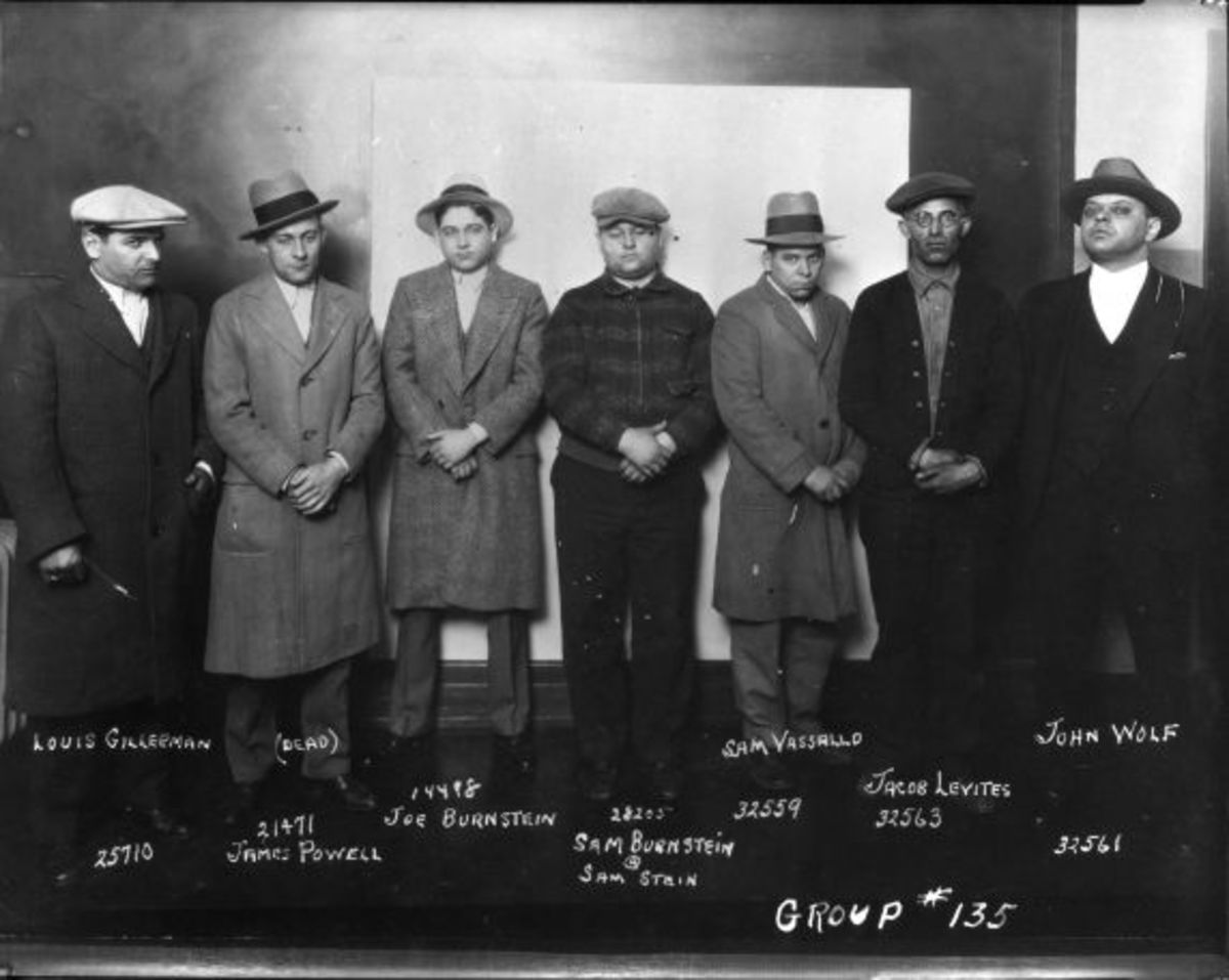 Some members of the Purple Gang; a few looking as menacing as they can.