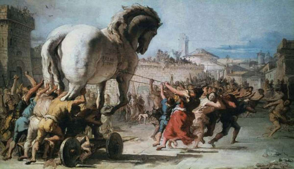 The Procession of the Trojan Horse into Troy from Two Sketches Depicting the Trojan Horse, oil on canvas by Giovanni Domenico Tiepolo, c. 1760; in the National Gallery, London.