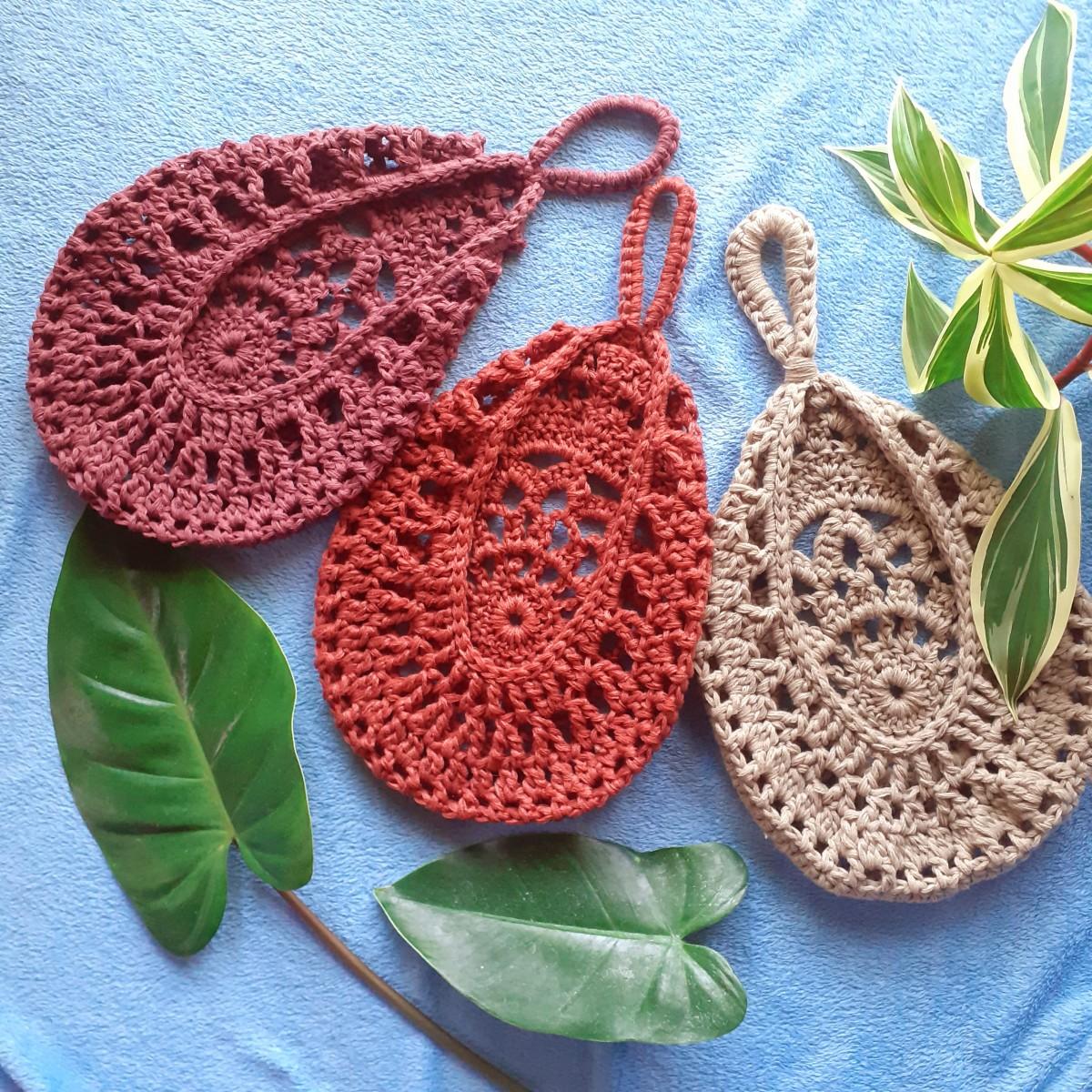 Crochet Teardrop Hanging Basket