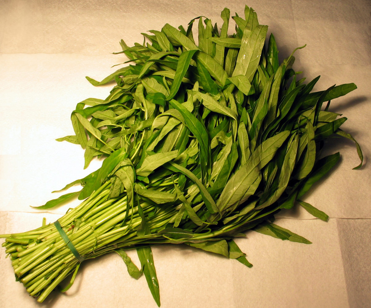Water spinach (kang kong) is commonly sold in Asian stores, but it can also easily be grown in a backyard pond.