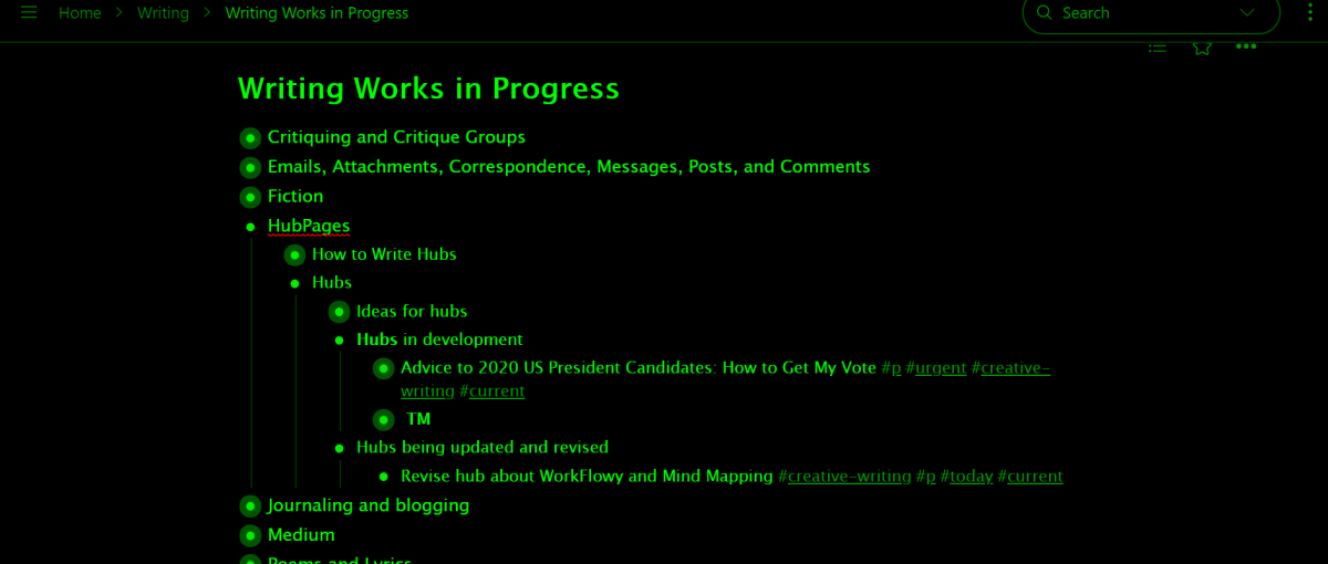 Screenshot showing WorkFlowy-Writing-Works in Progress-HubPages-Hubs partially expanded
