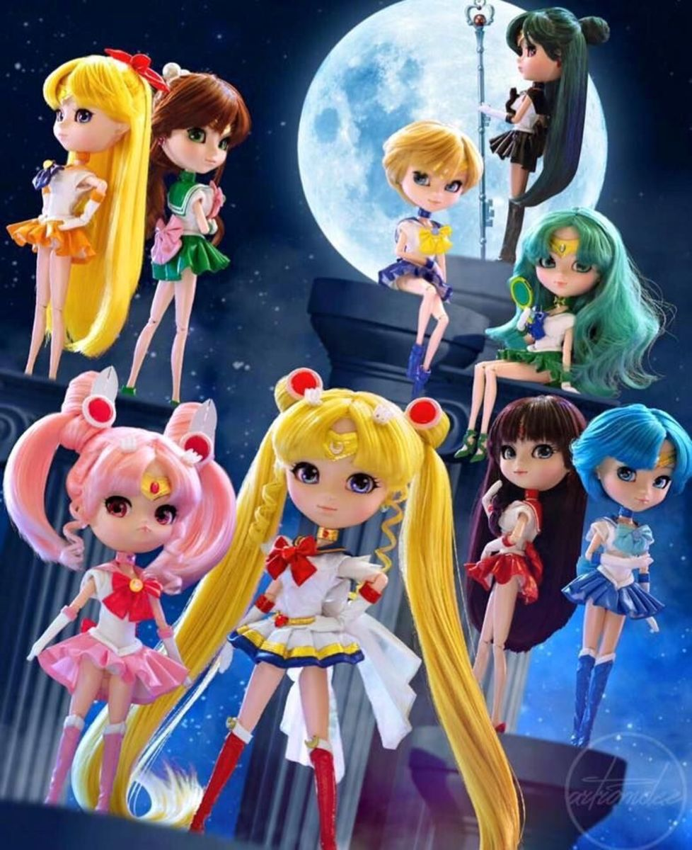 A collection of Sailor Moon Pullip dolls.