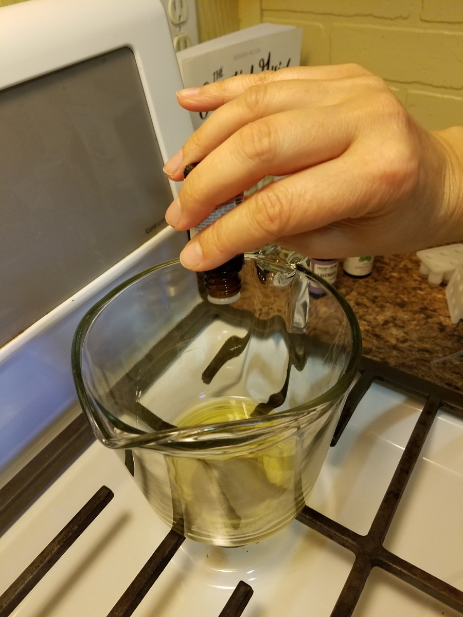 Add essential oils and other ingredients. Mix well.