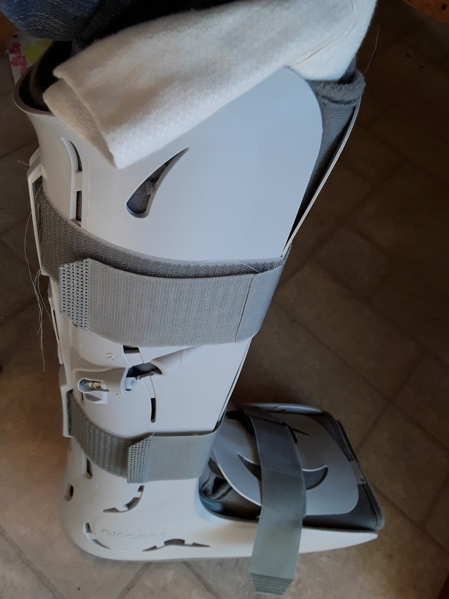 This walking boot was from an injury DH incurred last year.  Inflatable bladders on the inside made it fit me snuggly as well.  The physician's assistants encouraged me to keep using it.