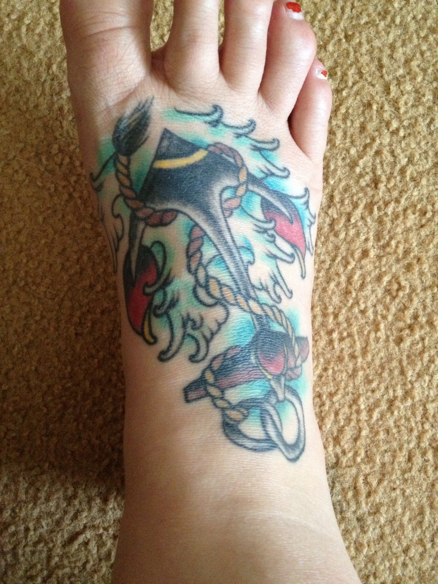 Getting a foot tattoo get ready for the pain train for Crazy train tattoos