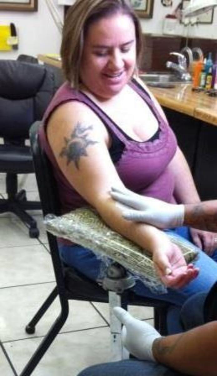 Setting Up for a Tattoo on My Arm