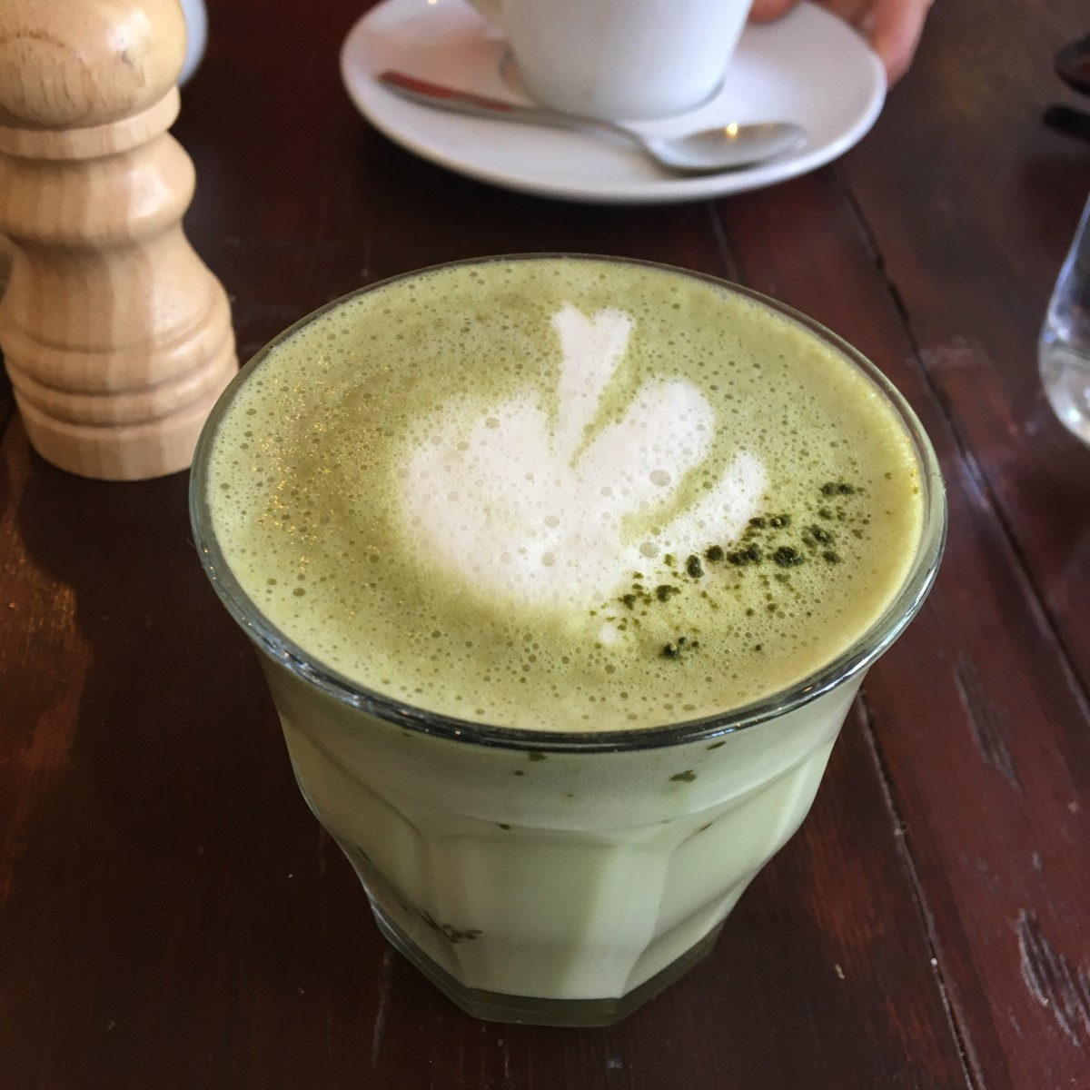A delicious matcha tea I had recently, made with coconut milk.