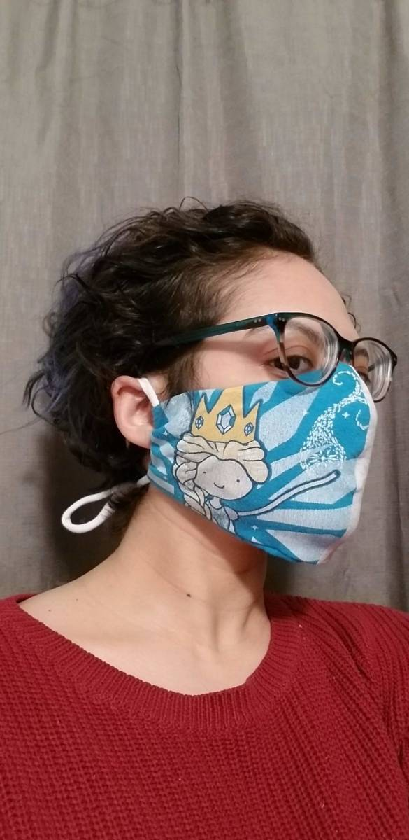 My DIY face mask with air filter made from an upcycled shirt that had been ripped.