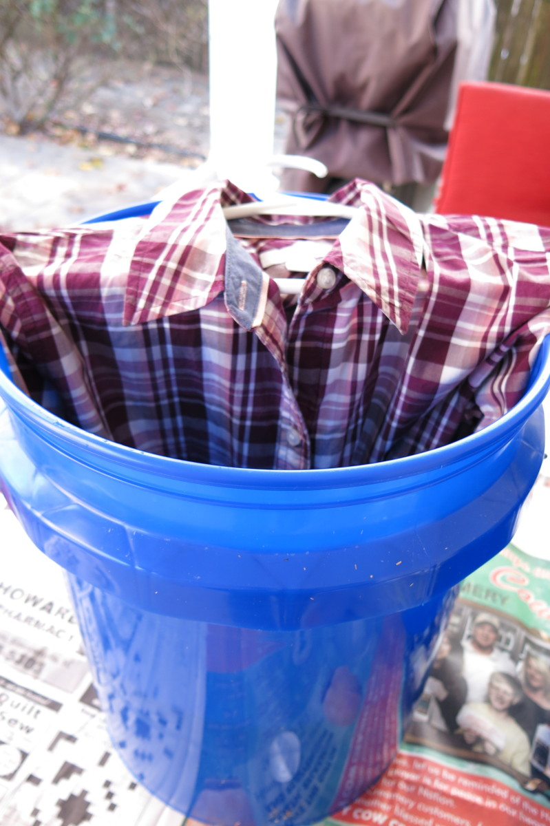 Ombre bleaching, or bleach dyeing, a shirt