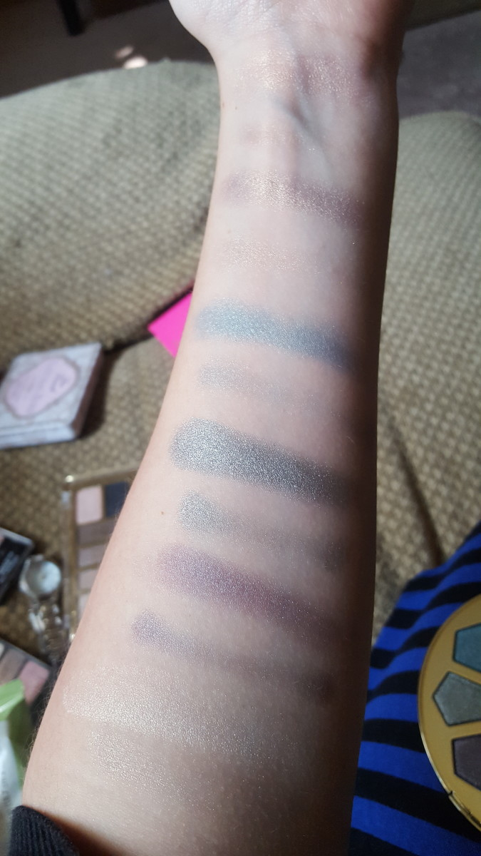 Swatches from the left side of the palette. From top to bottom: Pixie, Crystal, Dream, Mystic, Fairy.