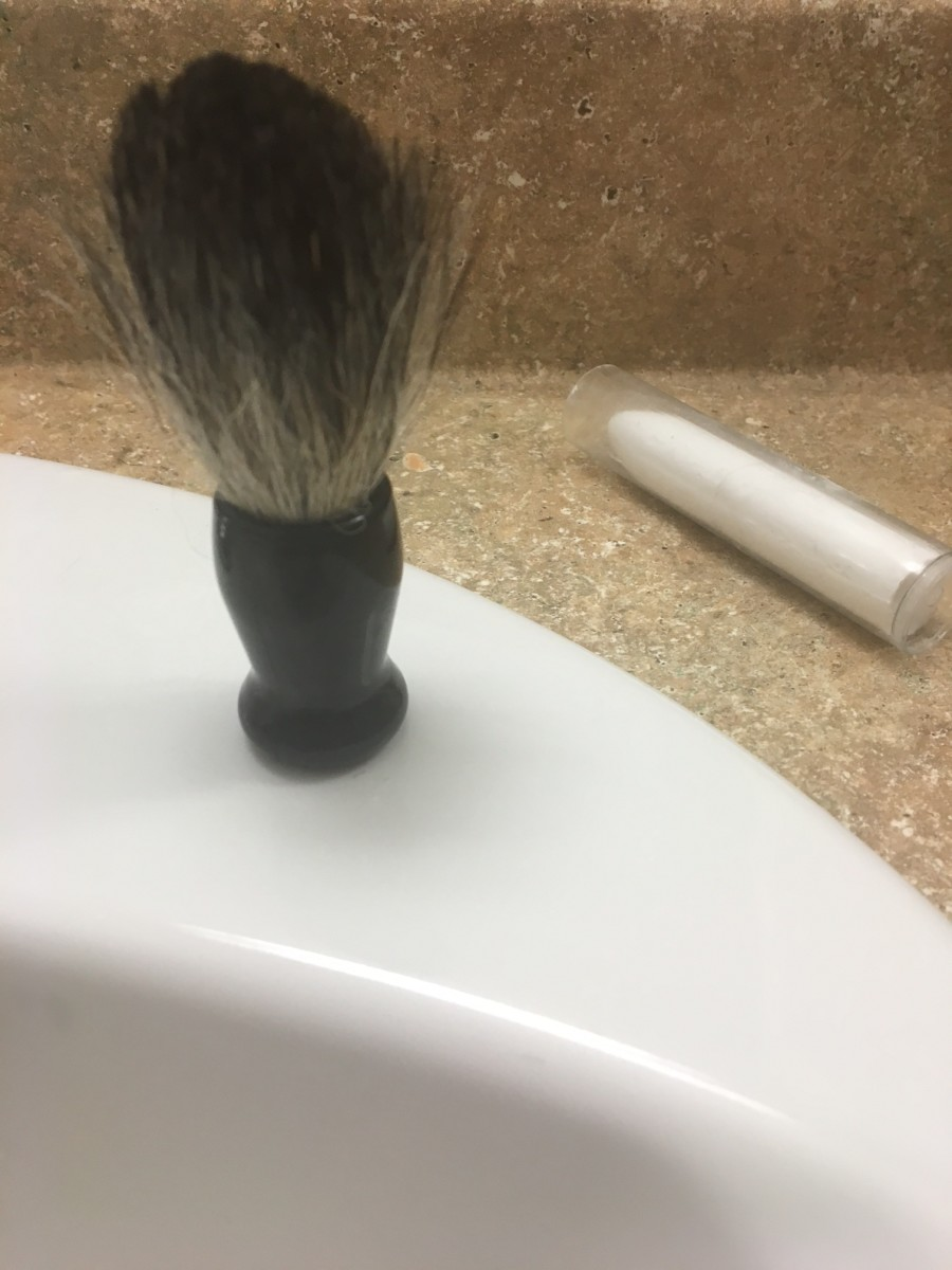 The badger hair brush, perfect for spreading shaving cream and making you into an insufferable boor.
