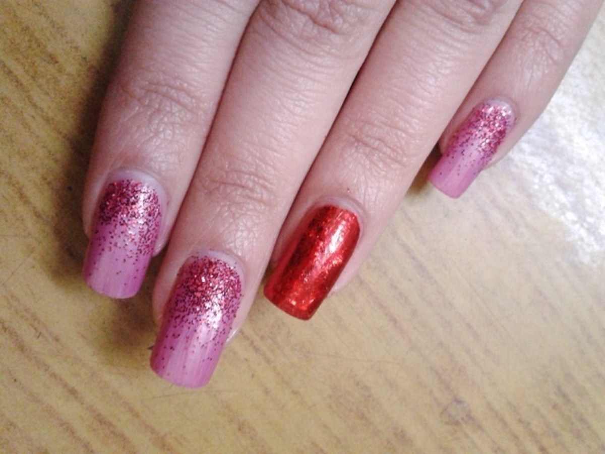 Pink Red glitter nail art with transfer foil