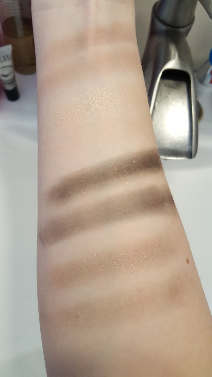 Here are some arm swatches of the whole Silent Treatment quad. Finger swatches are on top and brush swatches are on bottom. From top to bottom, we have Transition, Browbone, Crease, and Eyelid.