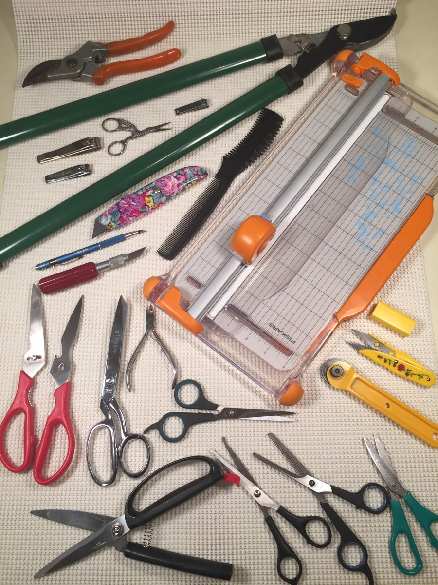 Fabric scissors, kitchen shears, spring loaded scissors, pruning shears, paper trimmer, craft knives, thread clipper, rotary cutter, eyebrow scissors, hair scissors, nail scissors, nippers, and clippers. So much to cut, so little time.