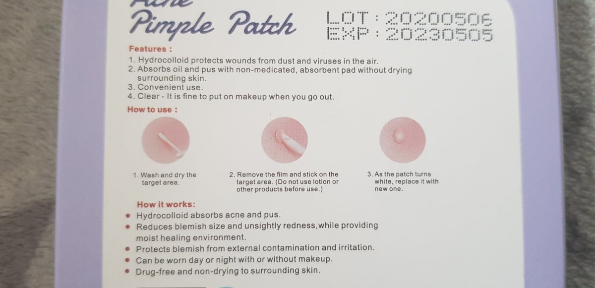 These are the instructions on the packet of the Liberex acne pimple patches that I followed.