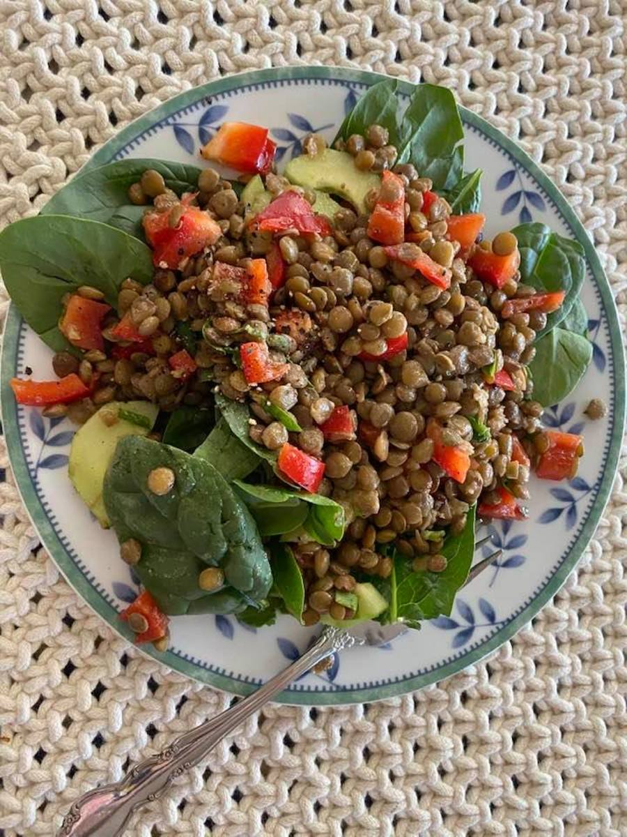 This delicious looking lentil salad was prepared and photographed by my sister, who is getting into summer salads too.