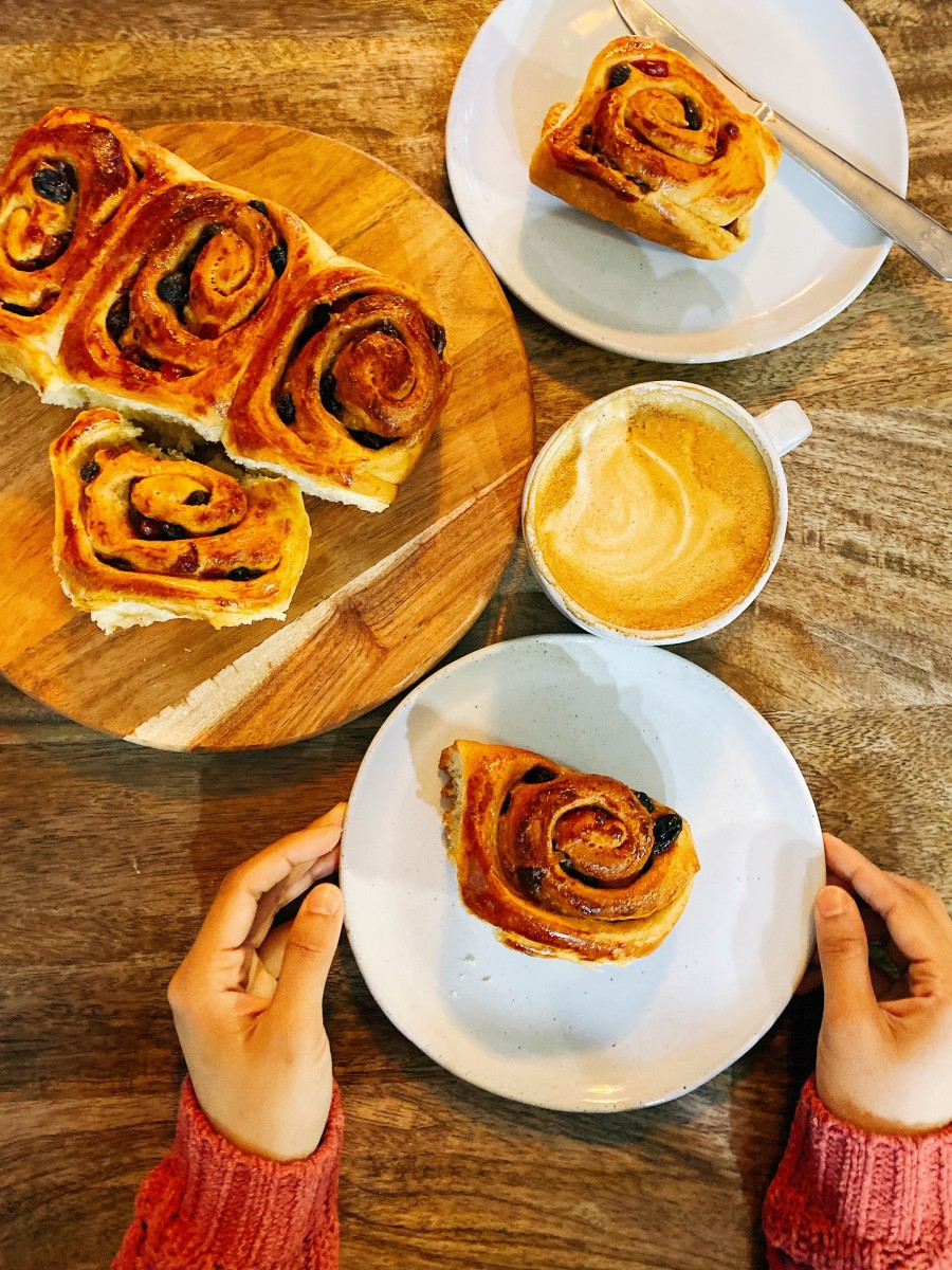 Perfect weekend breakfast. We enjoyed eating the cinnamon rolls with coffee.