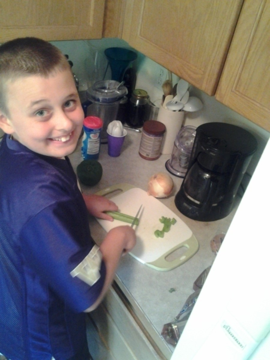Boy Chopping Celery