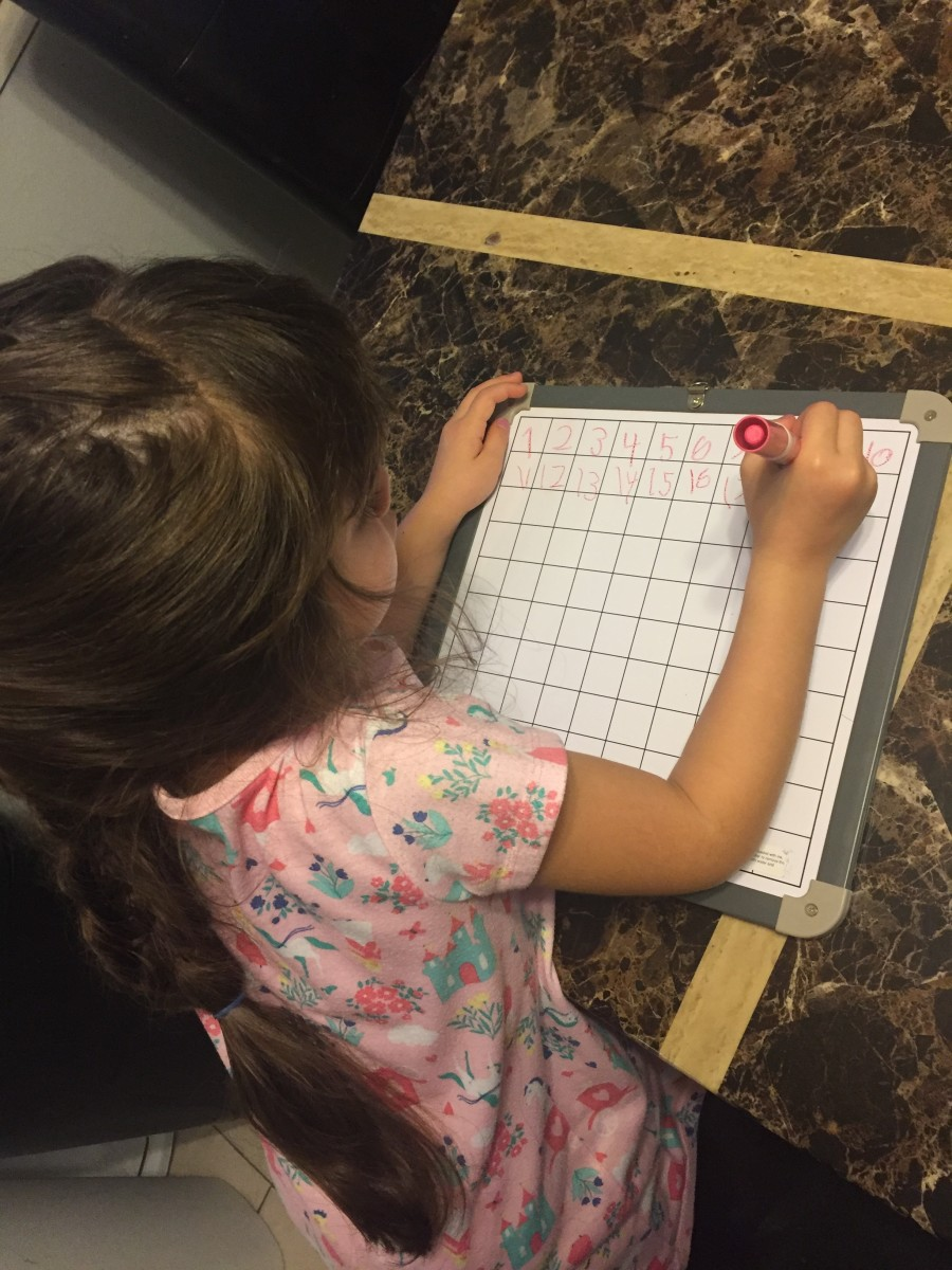 Practicing writing the numbers 1-100 is more fun on a slippery dry erase surface!