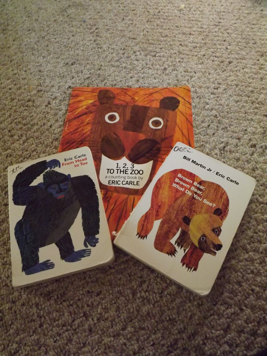 Some of the Eric Carle books we read in my toddler classroom.