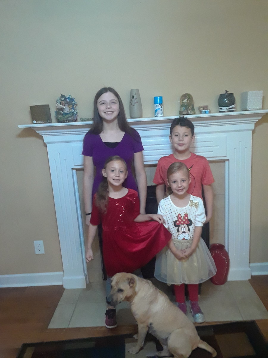 Here are four of my kids along with our dog. It's a very busy household!