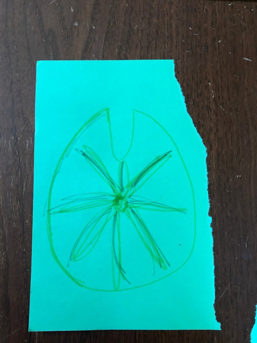 Draw a lily pad on construction paper. Cut it out.