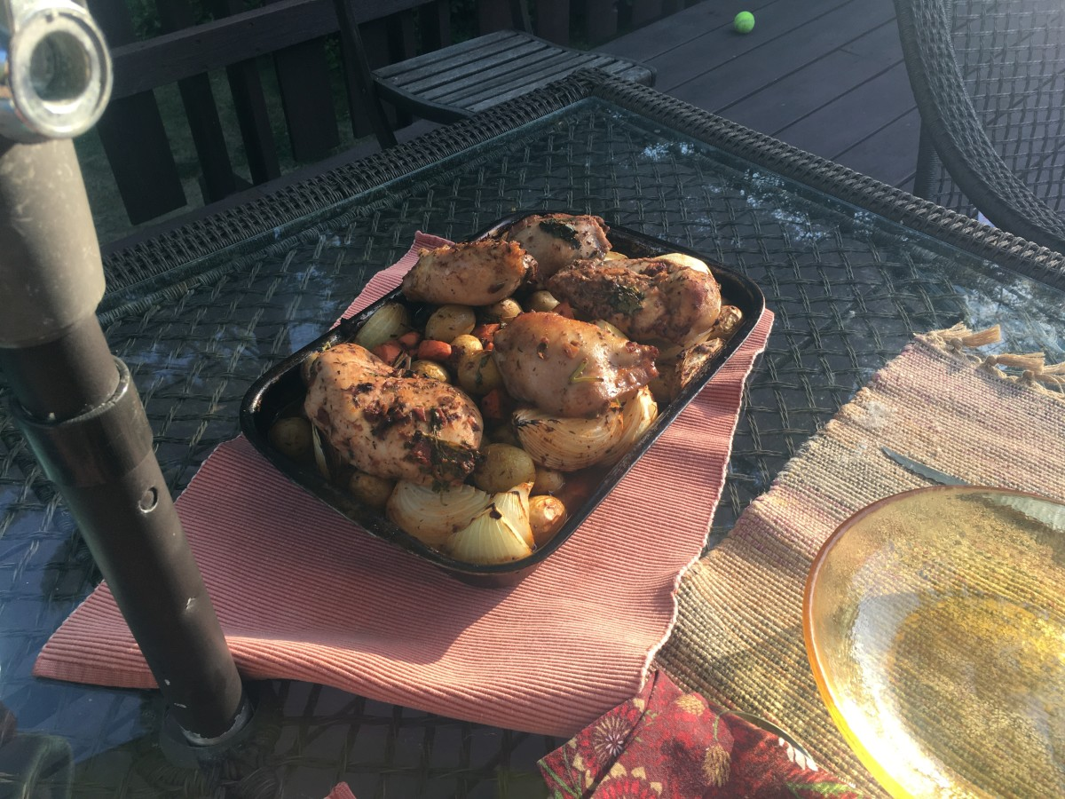 Garnished Red Wine and Tomato Roast Chicken