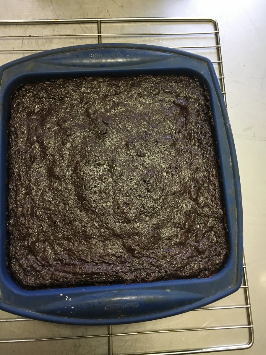 Bake until brownies are just starting to pull away from the edges of the pan. The center will stick look slightly wet. Don't overbake!