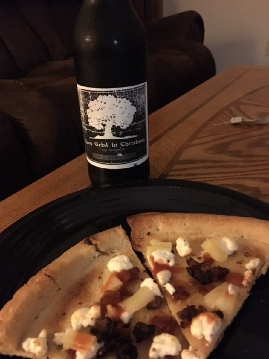 Black Pudding and Goat Cheese Pizza -- along with Slaven Boys Brewing's Xmas ale.  (First trial -- now has more toppings in the recipe.)