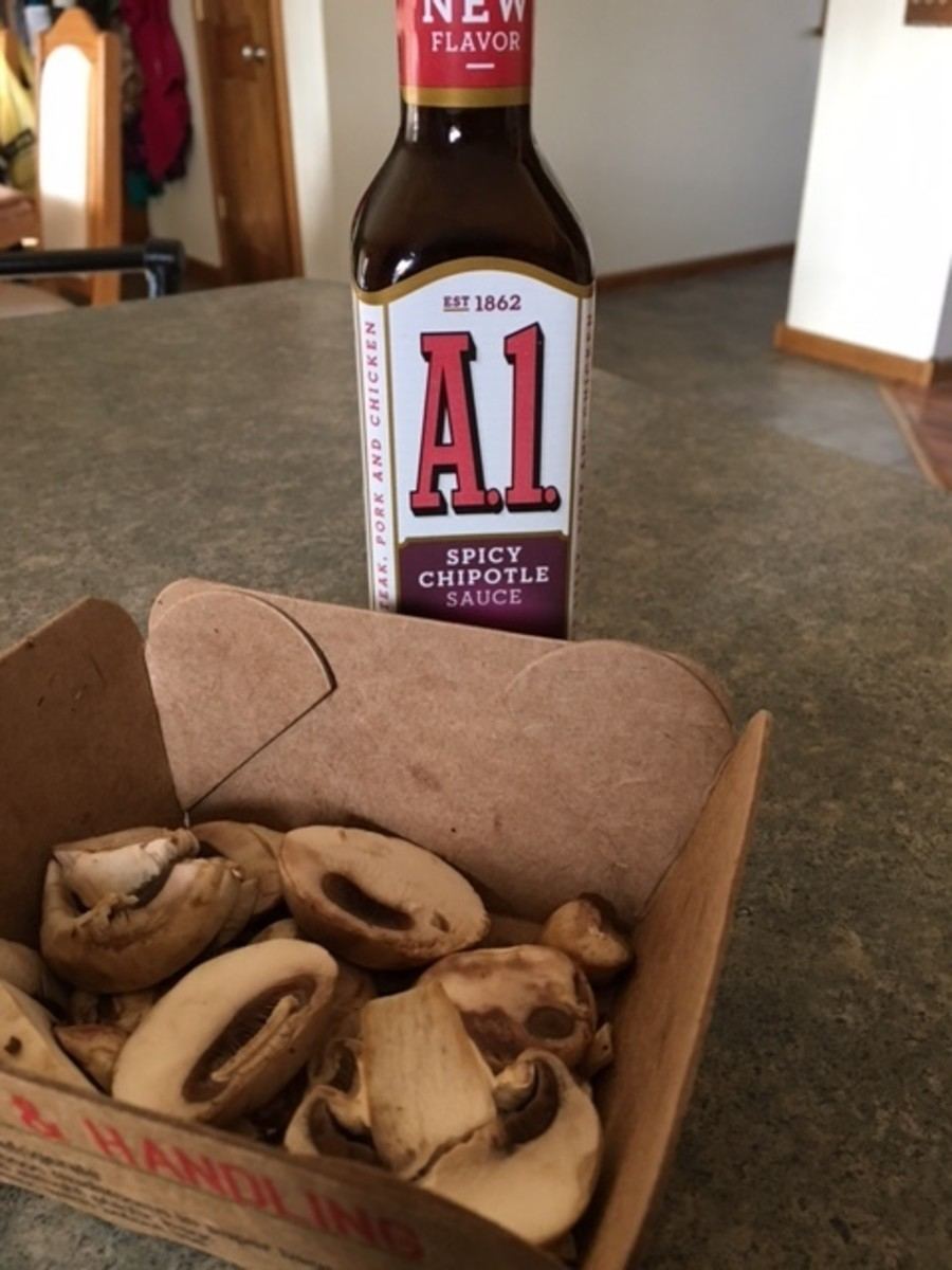 My personal favorite for the mushrooms: spicy A1!  I also use salt, pepper, and garlic salt.