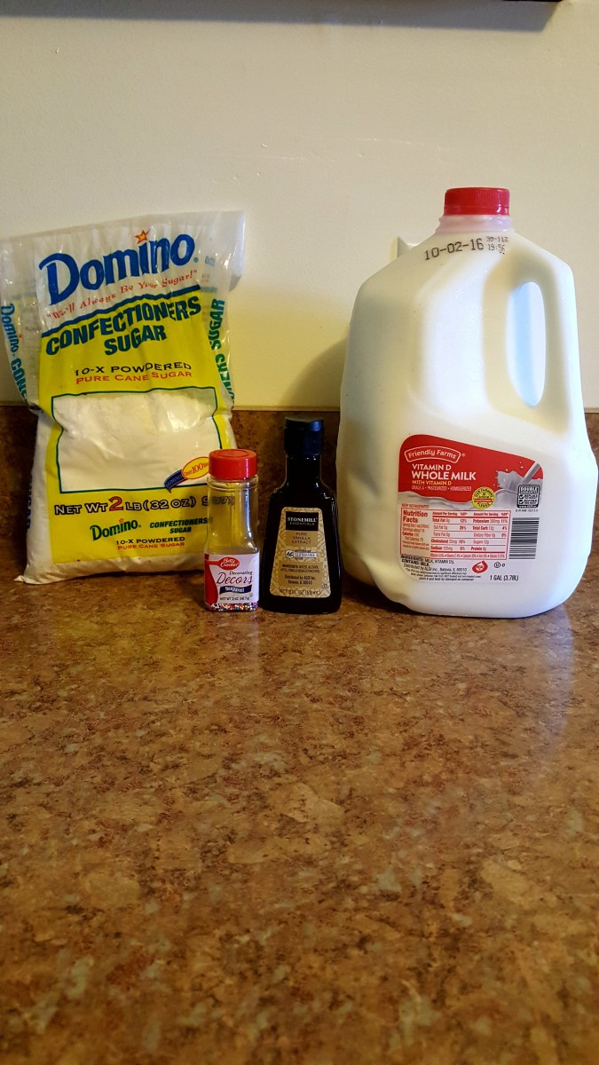 Ingredients needed for Vanilla Glaze.
