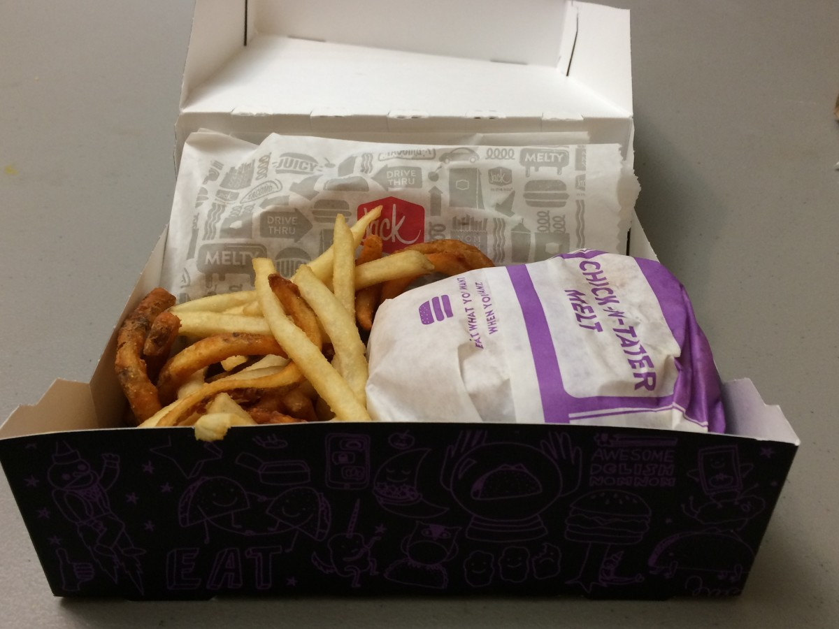inside of a Jack In The Box's munchie meal.