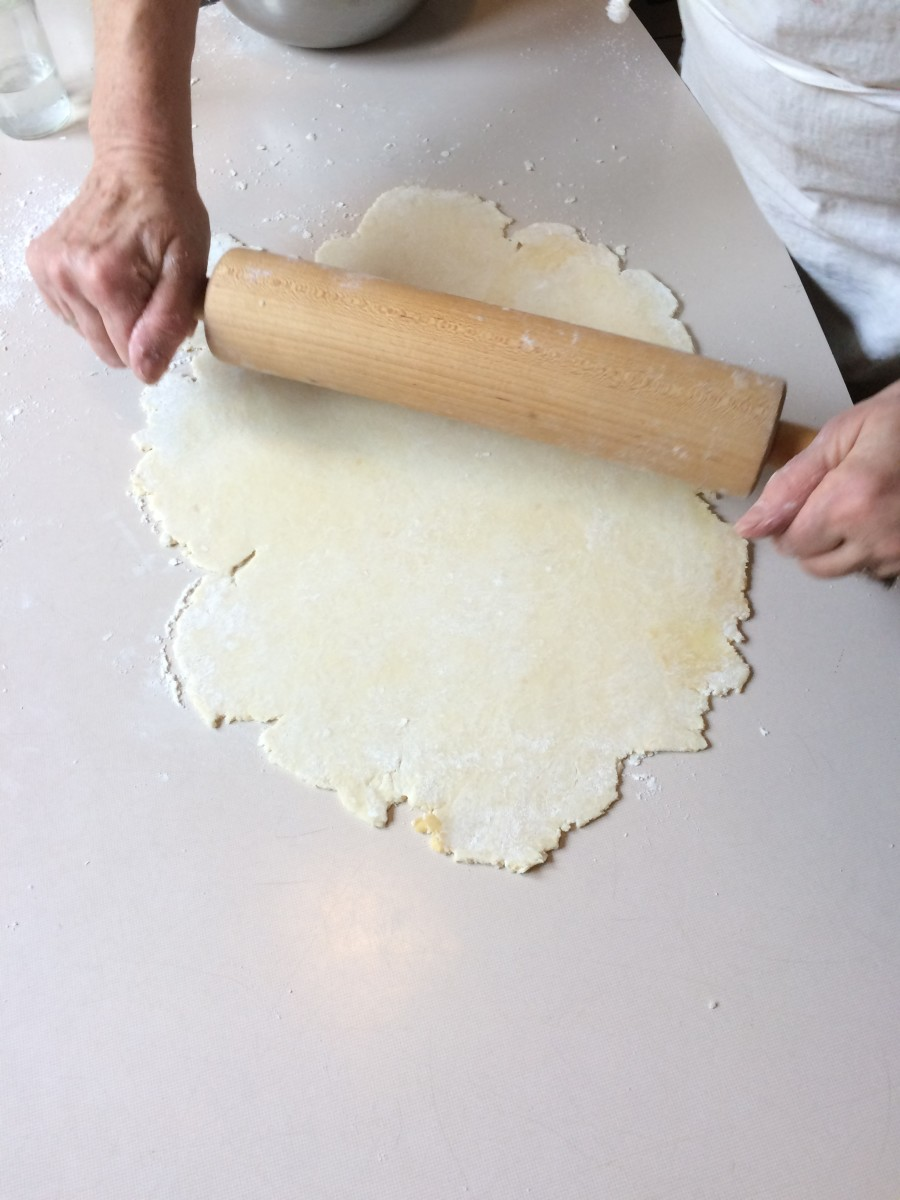 You want the pie dough rolled out evenly to 1/8th of an inch thick and without tears. You should have a rectangle of dough that is at least as wide as the pie plate.
