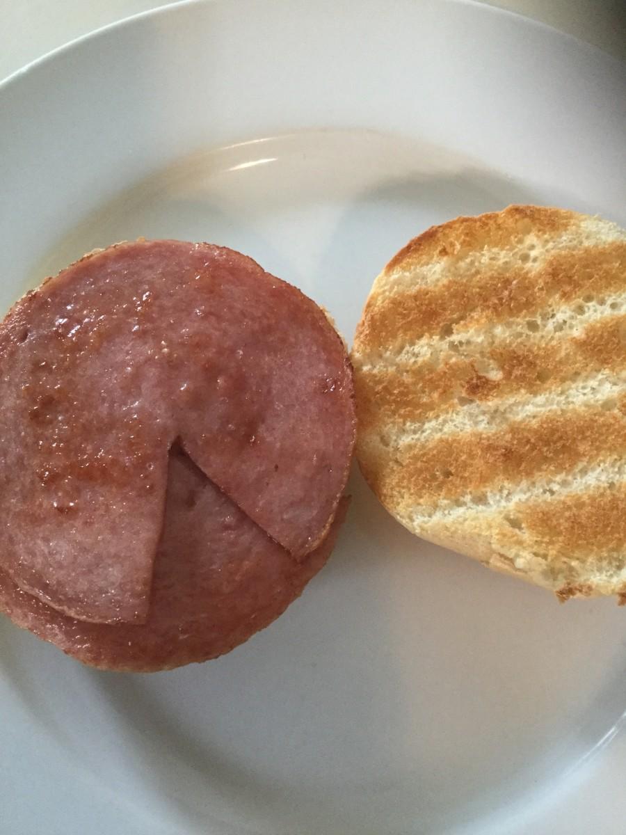 3) Place Pork Roll on Kaiser Roll