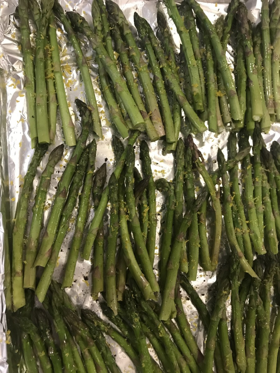 Sprinkle with kosher salt and the zest of a lemon. I like kosher salt best, and the pop of fresh lemon zest is just amazing with the fresh asparagus.