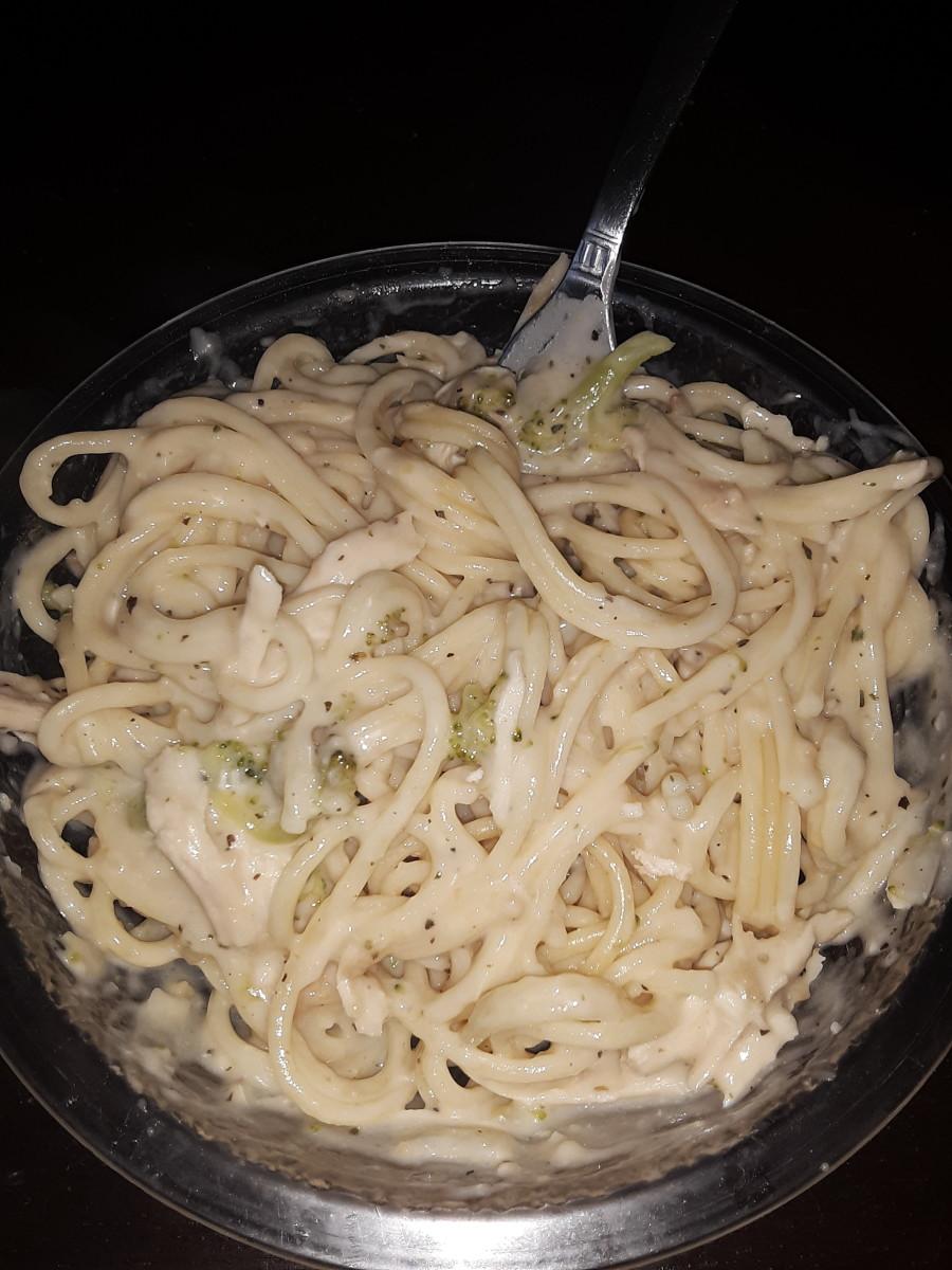 Chicken and Broccoli Alfredo and Spaghetti Noodles