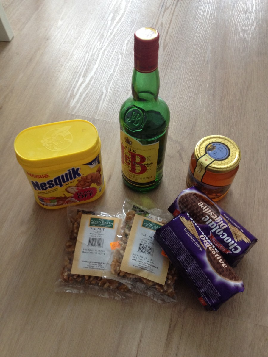 The ingredients by Kikalina. Left to right, chocolate powder drink, whiskey, honey, walnuts and digestive biscuits.